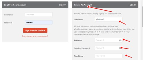 Creating account with Namecheap
