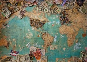 World map showing pinned countries with good business investment
